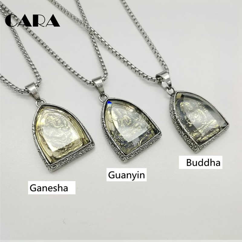 Statement Necklace Vintage Buddha Pendant Buddhist Necklace Buddha Religious stainless steel  Necklace hip hop Jewelry CAGF0313