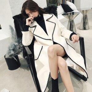 Image 5 - Lanmrem Ondulate di Colore Solido Modello di Grandi Tasche Cintura di Lana Del Cappotto Casual di Modo Si Slaccia Più Donna 2020 Autunno Inverno Nuovo TC981