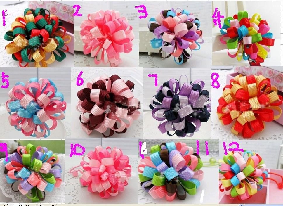 Детские волосы цветок лук хитрый лук различный цвет Смешанный цикл мяч для девочек волос 50 шт. JY