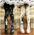 Kawaii Womens Wolf Moon Stars Lolita Tights Pantyhose Cute Rubber Printing 120D Good Quality