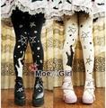 Kawaii Womens Wolf Moon Stars Lolita Tights Pantyhose Cute Rubber Printing 120D Good Quality