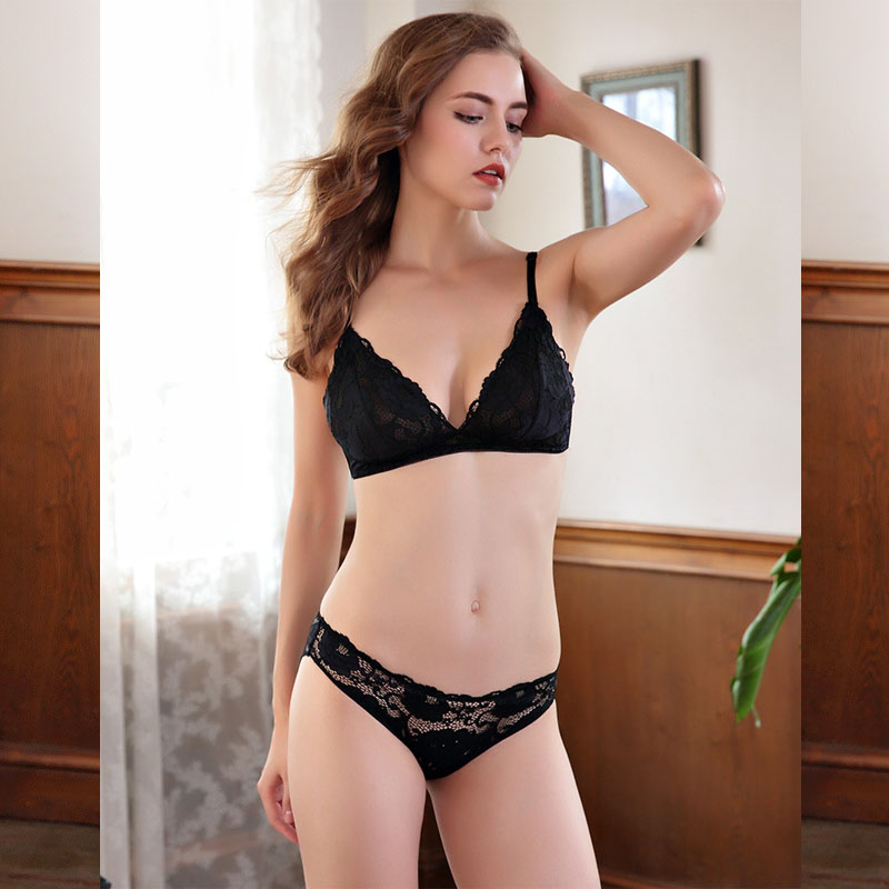 sexy mousse lace underwear lingerie for women bra and briefs sets push up thin cup gather see through big size floral embroidery in Bra Brief Sets from Underwear Sleepwears