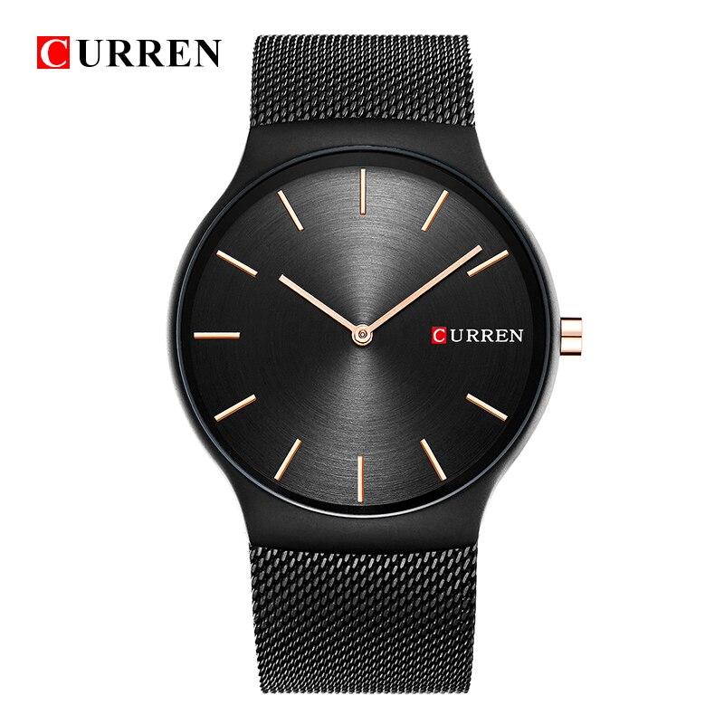 CURREN 8256 Новый Черная Роза Золотая стрелка relogio masculino Элитный бренд аналоговые спортивные наручные кварцевые Бизнес часы мужские N9