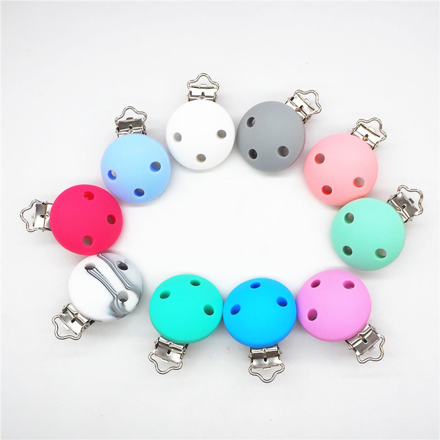 Chenkai 10PCS Silicone Round Teether Clips DIY Baby Pacifier Dummy Teething Soother Nursing Jewelry Toy Accessory Holder Clips