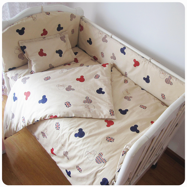Promotion! 9PCS Whole Set Cartoon Baby crib bedding set crib bedding set 100% cotton baby bedclothe,4bumper/sheet/pillow/duvet
