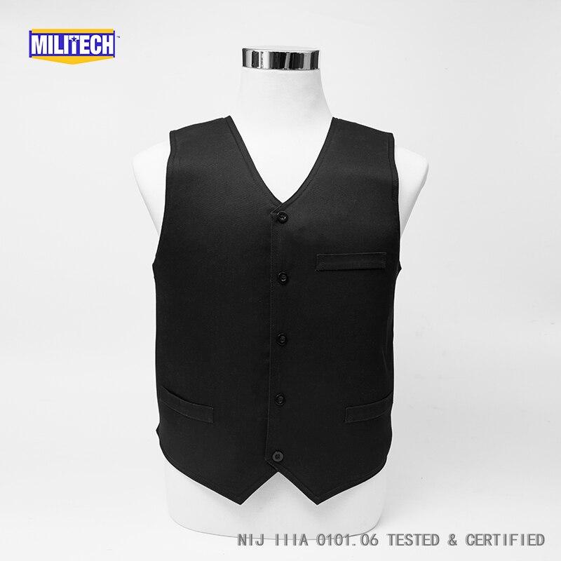 Militech VIP Noir NIJ IIIA 3A et Niveau 2 Stab Dissimulable Twaron Aramide Gilet Pare-balles Covert Bullet Balistiques Preuve Gilet