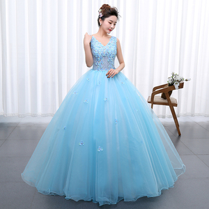 Image 4 - Princess Blue New Wedding Dress 2020 Doubl Shoulders for Party Chorus host Fleabane Bitter Stage Studio Photo