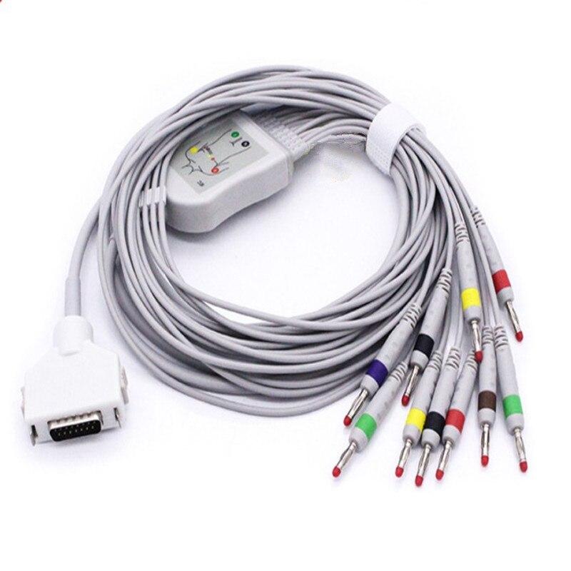 2018 nouveau Compatible pour le câble Fukuda ECG avec 10 fils FCP-7411, FX-7402/FX-2111, FX-2155/3010/7010/7102 fils de câble EKG AHA