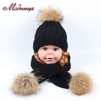 children winter wool earflap hat for girls and boys real fur pom pom baby hats for kids