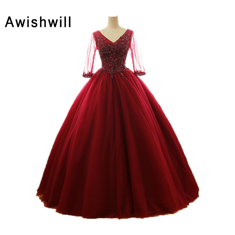 Real Photo Elegant 2018 Quinceanera Dresses Burgundy Ball