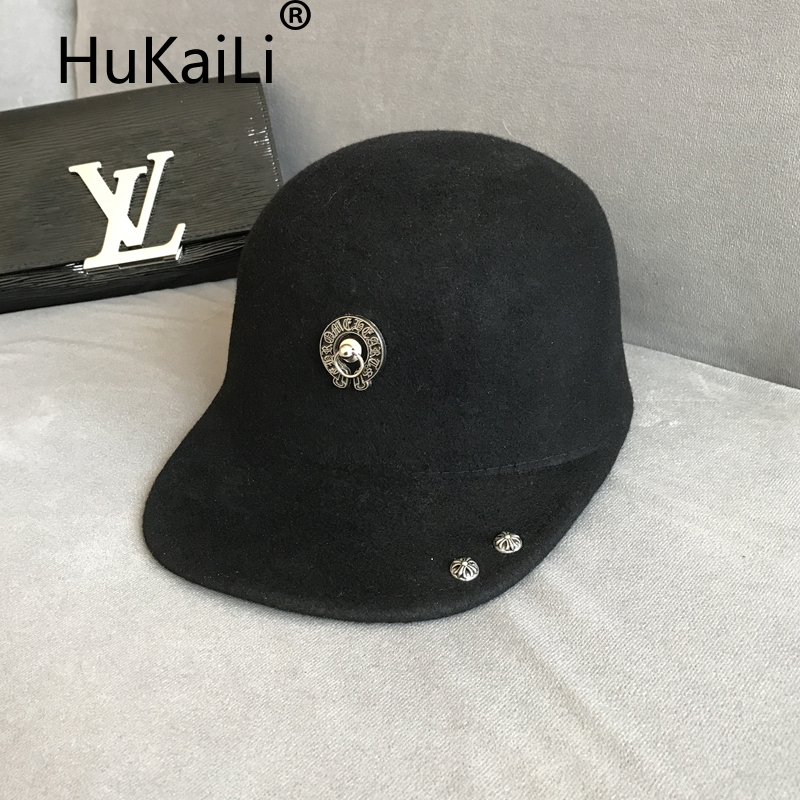 2017 spring and summer wool hat baseball cap equestrian cap metal decoration basic latest hats for men and women knights of the new han edition wool equestrian hat baseball cap hats for men and women metal chain badge