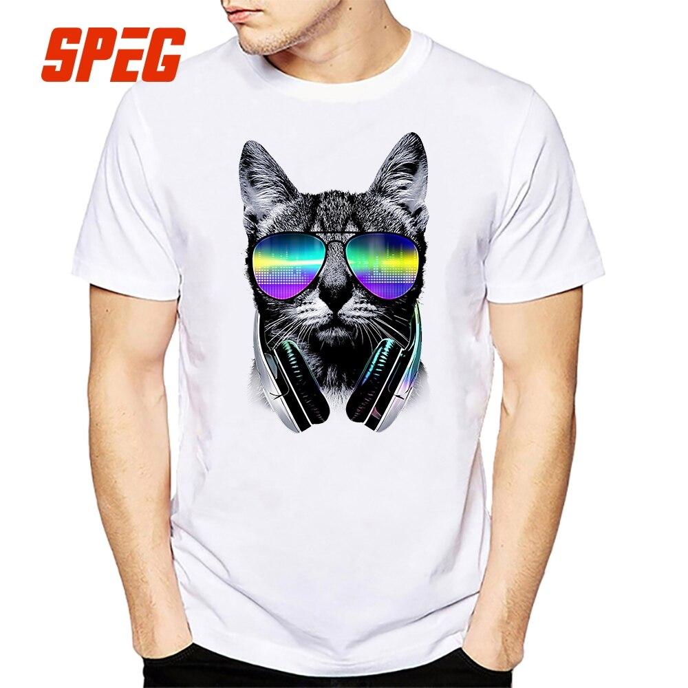beb1a46dee8 Funny Music Lover Cat T Shirts White Astronaut Cat Summer Streetwear Men  Tees 100% Cotton Ptint Short Sleeve O-Neck T-Shirts DJ