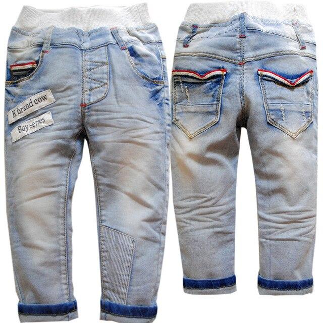 3708 яровой мягкой джинсовые брюки осенние брюки дети джинсы мальчики девочки дети голубой детская одежда