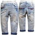 3708 primavera calças jeans macio calças de outono das crianças jeans meninos bebês meninas luz azul crianças roupas