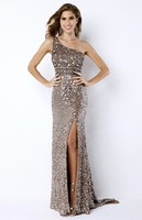 vestido Sparkly Glitter long gowns Prom 2018 Sexy One Shoulder Crystal Sequin Backless Front Slit bridesmaid Dresses