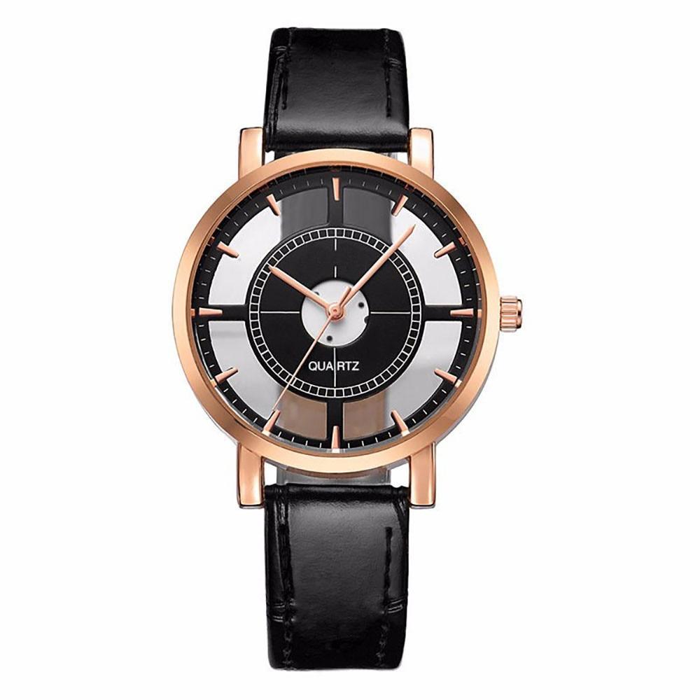 Fashion Women Watch Luxury Unique Stylish Double Hollow Lady Watches Elegant Casual Quartz Wristwatch Gift Girls Clock Black #D