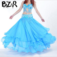Bazzery Stage Performance Oriental belly dancing skirts 3 layers chiffon belly dance skirt costume training dress or performance