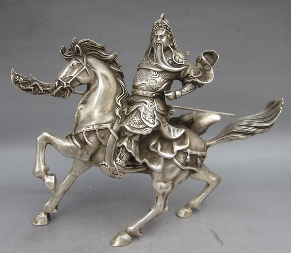 Elaborar Características Chinesas handmade prata Tibetana estátua de guerreiro deus Guan Yu Montando