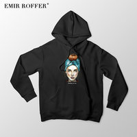 EMIR ROFFER 2018 Fashion Streetwear Harajuku Hoodies Women's Sweatshirt Oversized Hooded Warm Ladies Winter Clothing