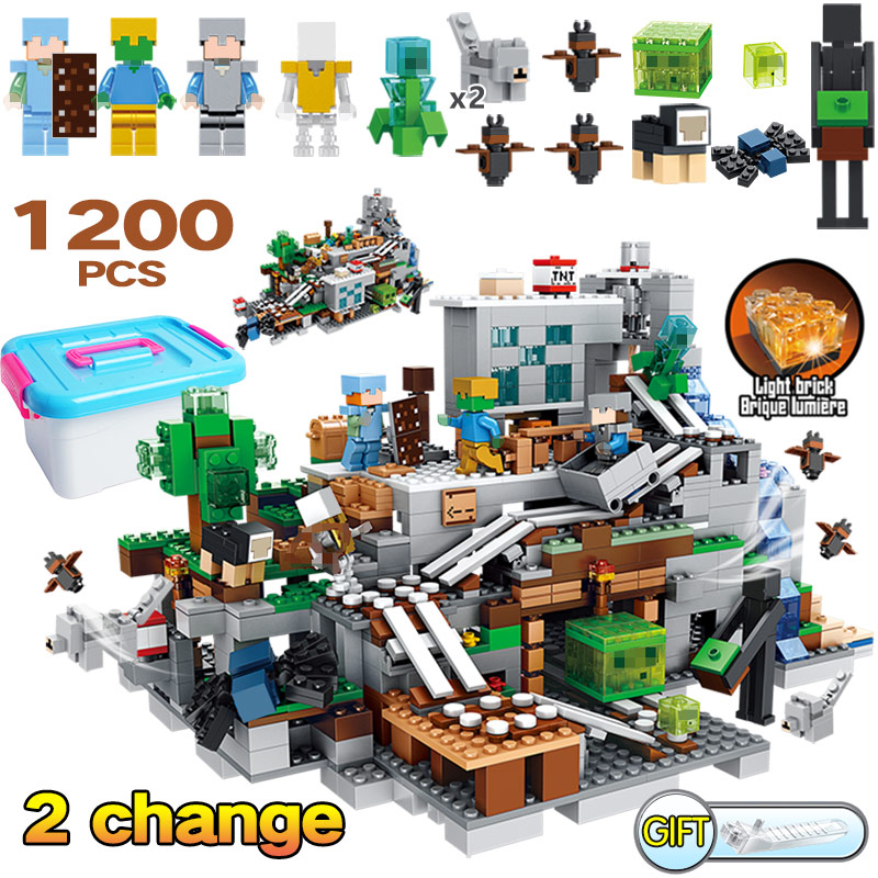Model Building New 568pcs Compatible Legoed Minecrafted Mechanism Cave Mine Treasure Building Blocks Alex Action Figures Brick Toys For Kids Selected Material