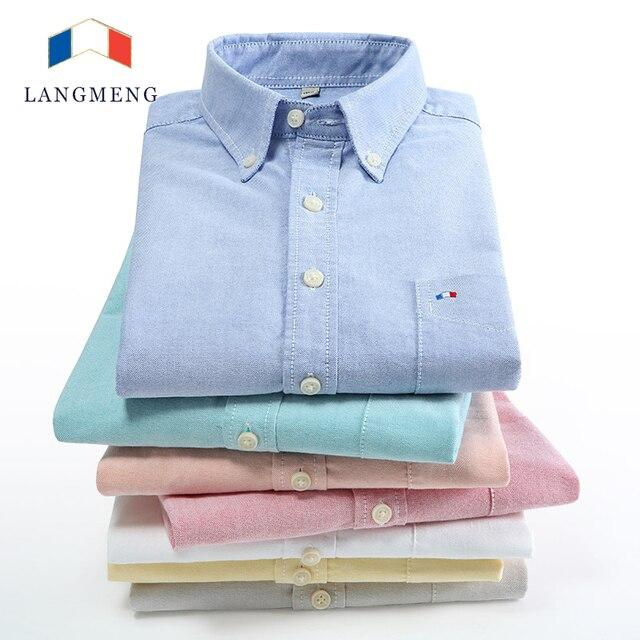 Langmeng 100% Cotton Long Sleeved Casual Shirt Men 2016 New Mens Brand Slim Fit Dress Shirts Free Shipping Camisa Masculina