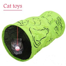 Printed Green Lovely Crinkly Kitten Tunnel Toy With Ball