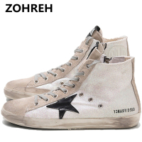 ZOHREH Women Casual Shoes 2018 Spring Canvas Women Shoes White Black Zippers & Platform women Fashion Shoes High top Flat With