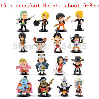 ФОТО 16 pieces / set  Size: 6 - 8 CM PVC plastic model one piece  action figures hobbies plush doll  --- one 2324777989