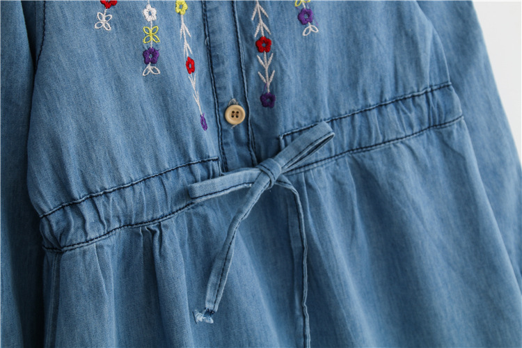 14dd87f4b127 Kids Girls Autumn Denim Dresses For Infant Baby Toddler Girl Embroidery  Flowers Long Sleeve Jean Dress Cotton Costume Of Girls-in Dresses from  Mother & Kids ...