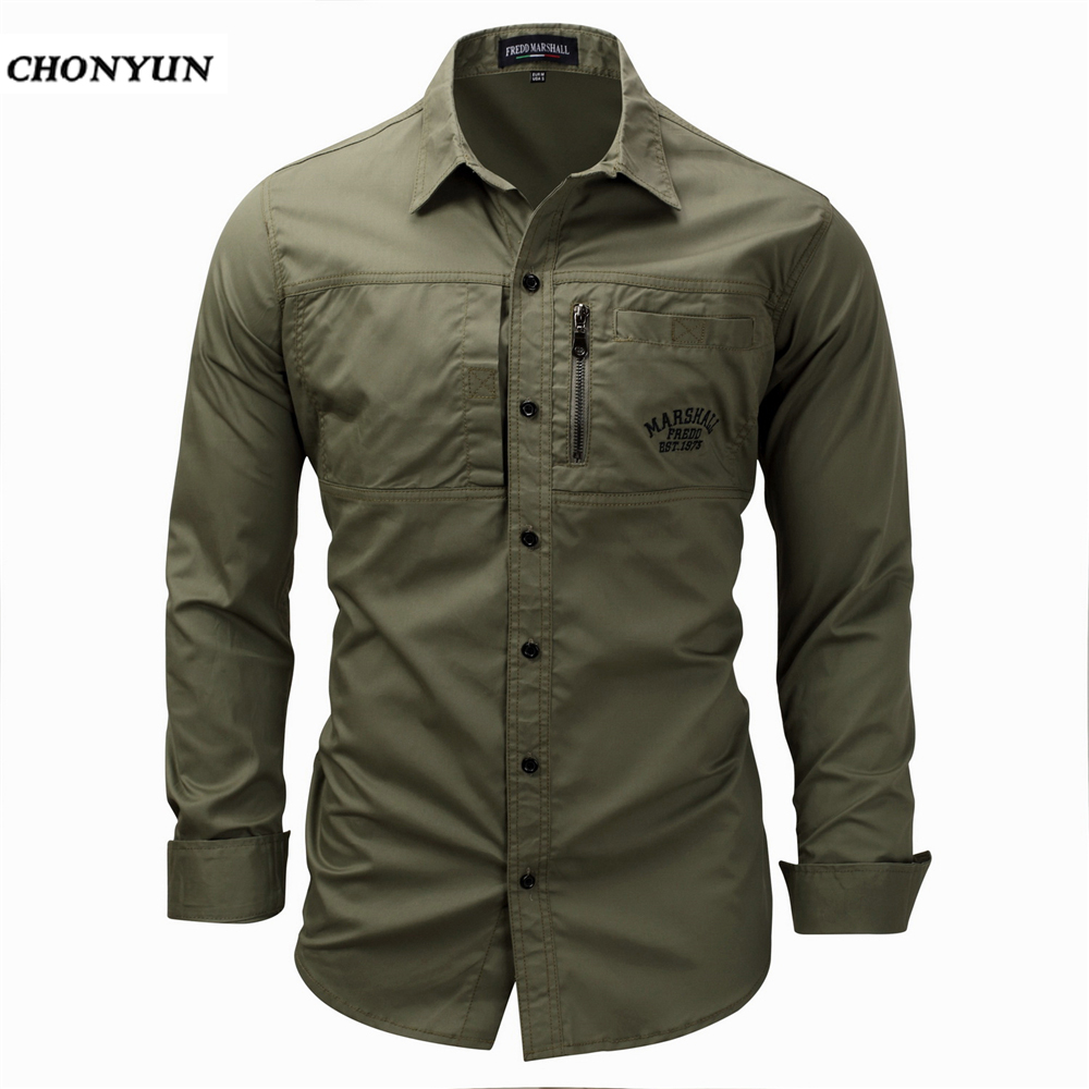 2020 New Men's Slim Fit Dress Shirts Masculina Business Male Long Sleeves Army Casual Turn Down Neck Shirt Homme Size 3XL