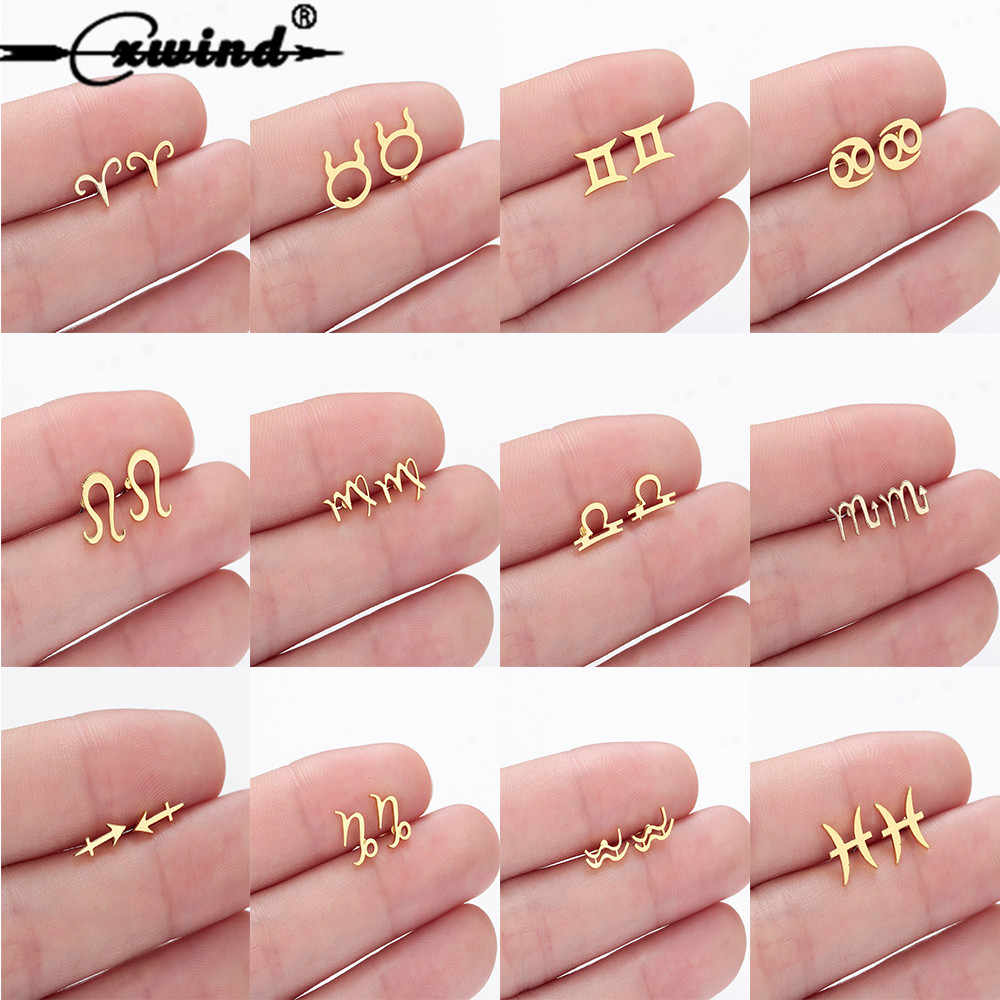 Cxwind Constellation Stud Earrings for Women Zodiac Earring Gift 12 Zodiac Sign Constellation Charm Star Heart brincos Jewelry