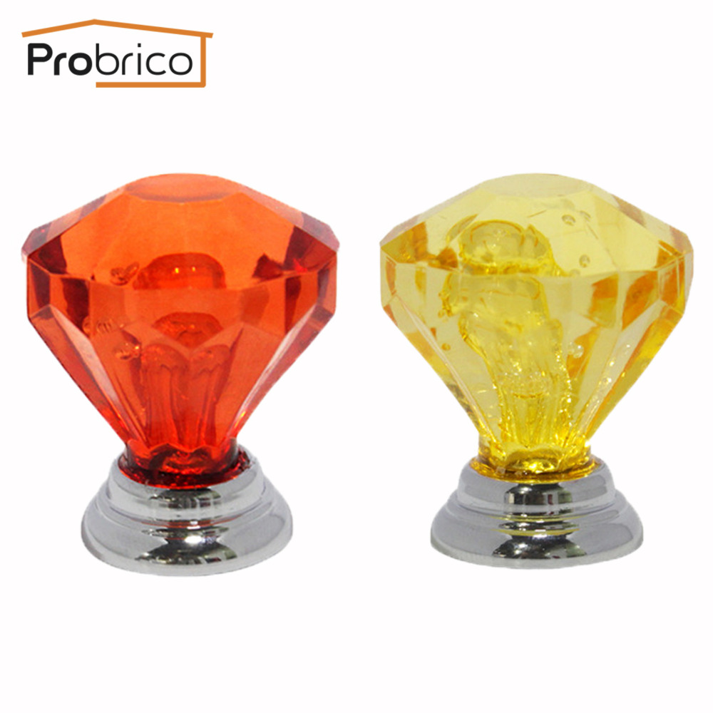 Probrico Acrylic Crystal S Furniture And Handles Kitchen Door Drawer Pulls 5 Packs Hardware Yellow Wine
