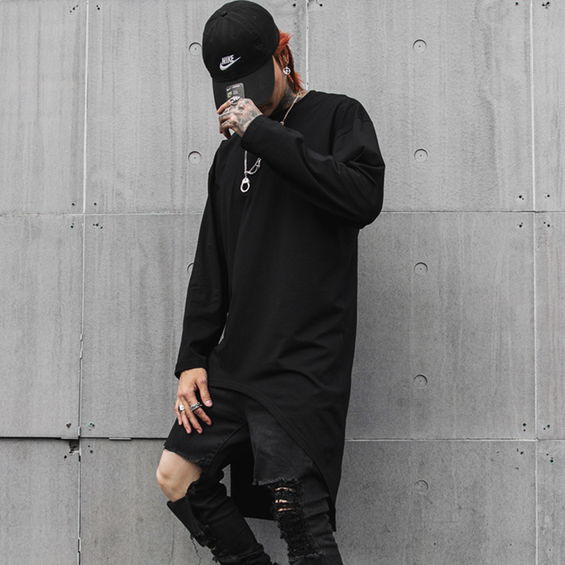 Sping Autumn Mens extra long t shirts Long sleeves Irregular Solid Black color O neck Punk style