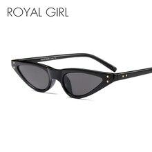 ROYAL GIRL Vintage Cat Eye Sunglasses Women Classic Brand Design Small Frame Sun Glasses Female Rivet Black Eyewear UV400 SS508