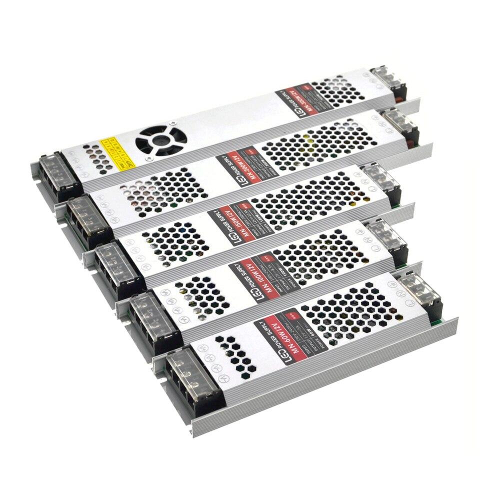Tiras ultra finas da fonte de alimentação dc 12 v dos transformadores do diodo emissor de luz 100 w 150 w 200 w 300 AC190-240V driver para lâmpadas conduzidas das tiras