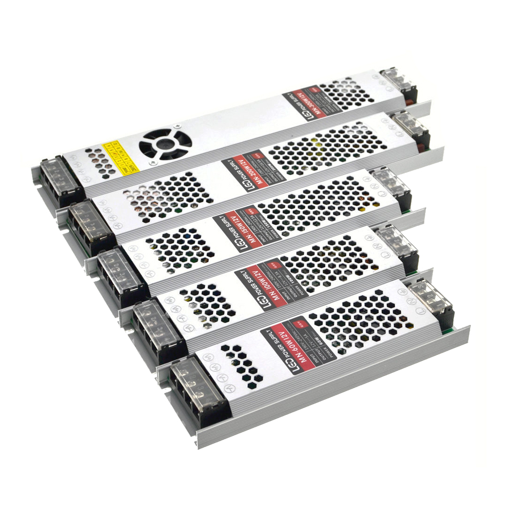 Ultra Thin Led Transformers Power Supply DC 12V Strips 100W 150W 200W 300W AC190-240V Driver For LED Strips Light Bulbs