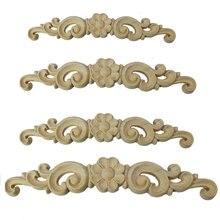 Rose Flower Woodcarving Decal Corner European Home Decorates Wood Carving Long Applique Door Bed Decorative Flower Wood Applique