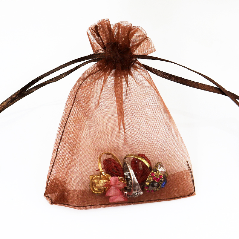 100pcs/lot 7x9cm Coffee Organza Bag Small Tull Jewelry Gift Bag Drawstring Pouch Christmas Wedding Charms Jewelry Packaging Bags