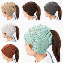 96174259ffee7 URDIAMOND Ponytail Beanie Hat Women Crochet Knit Cap Winter Hat Skullies  Beanies Warm Cap Female Knitted