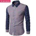 New Chemise Homme Men Boutique Full Sleeve Stripesslim Fit Casual Shirt Printed Splicing Camisa De Los Hombres ,m-3xl,gx89