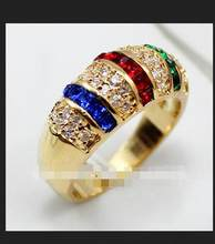 Jewelry can choose size 5pc lady's noblest mixed blue red green Zirconia bead ring(China)