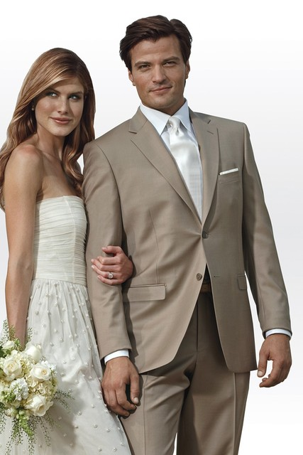 Newest Modern Wedding Tuxedo Tan Suits Groom Tuxedos Best Man Groomsman Suit Noivo Smoking Italian Style