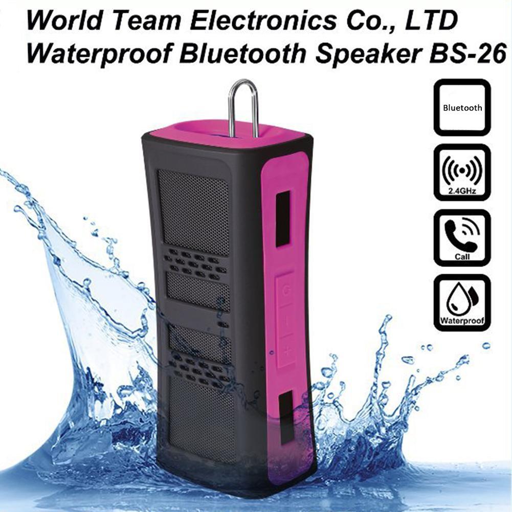 Outdoor In-car Sports Bluetooth Waterproof Stereo Loudspeaker BS-26 Vehicle Shadow Box with 2 Holders