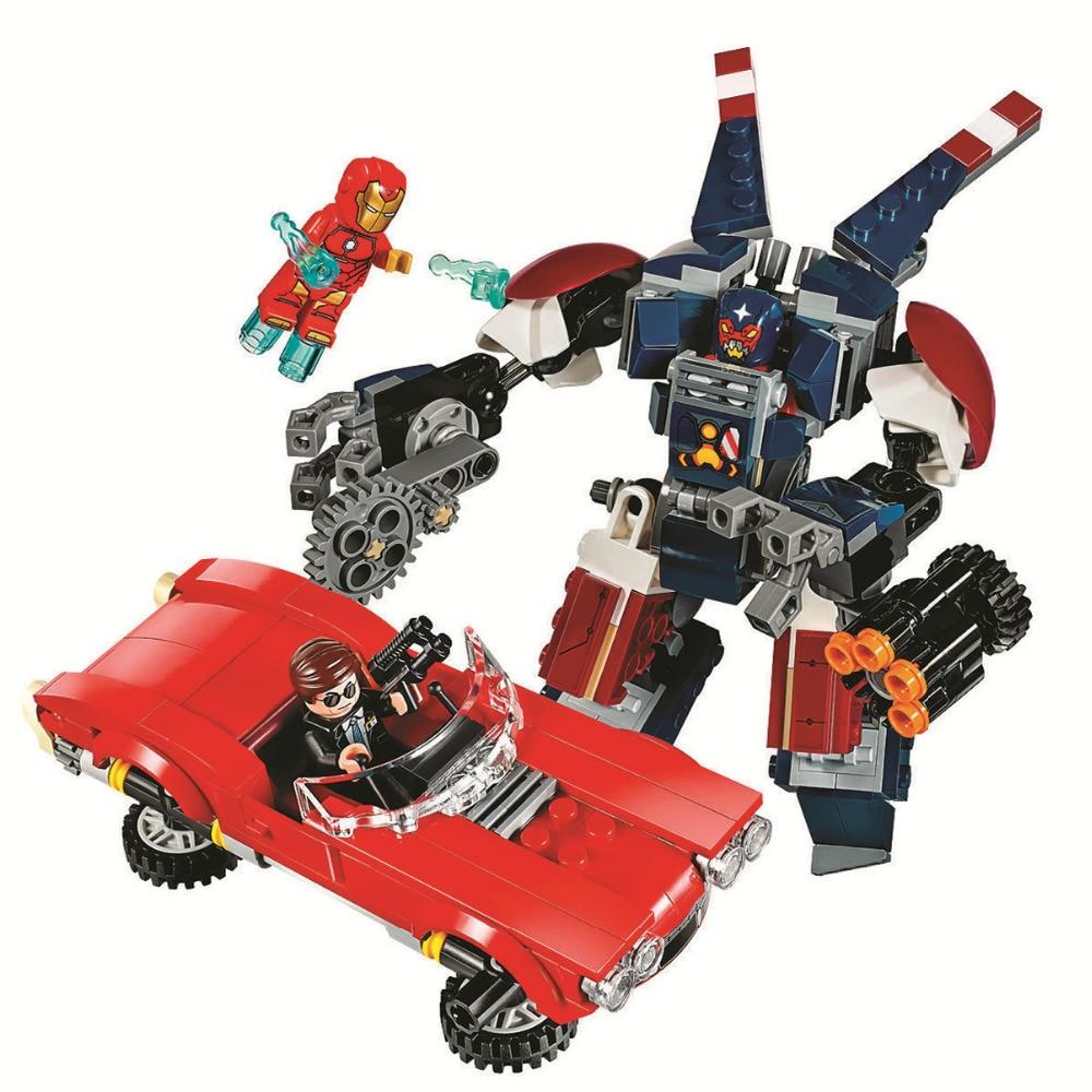 BELA Batman Super Heroes Iron Man Detroit Steel Strikes Building Blocks Bricks Movie Model Kids Toys Marvel Compatible Legoe