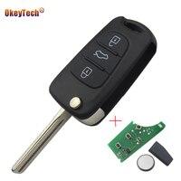 OkeyTech Remote Control Flip Folding Auto Car Key Fob Case Shell 3 Buttons For Hyundai 433MHZ