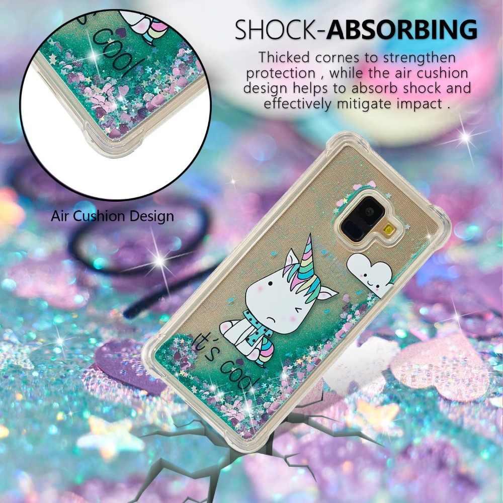 Для samsung A8 2018 чехол прекрасный вишни бабочка пони bling Жидкий блеск телефон чехлы для samsung J2pro A7 A3 a5 J3 J5