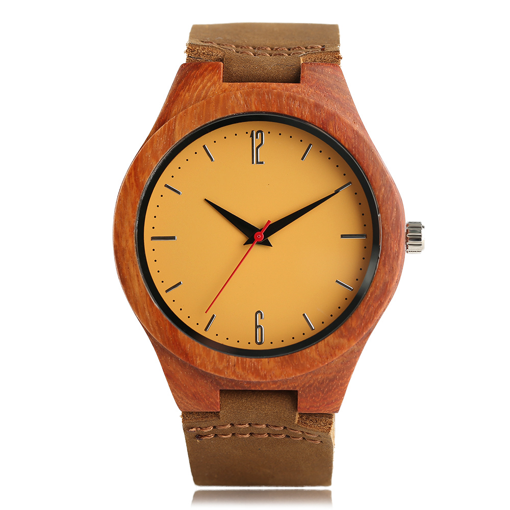 Fashion Men Sandalwood Quartz Wristwatch Gift YISUYA Genuine Leather Band Women Creative Watches Modern Bamboo Analog Relogio