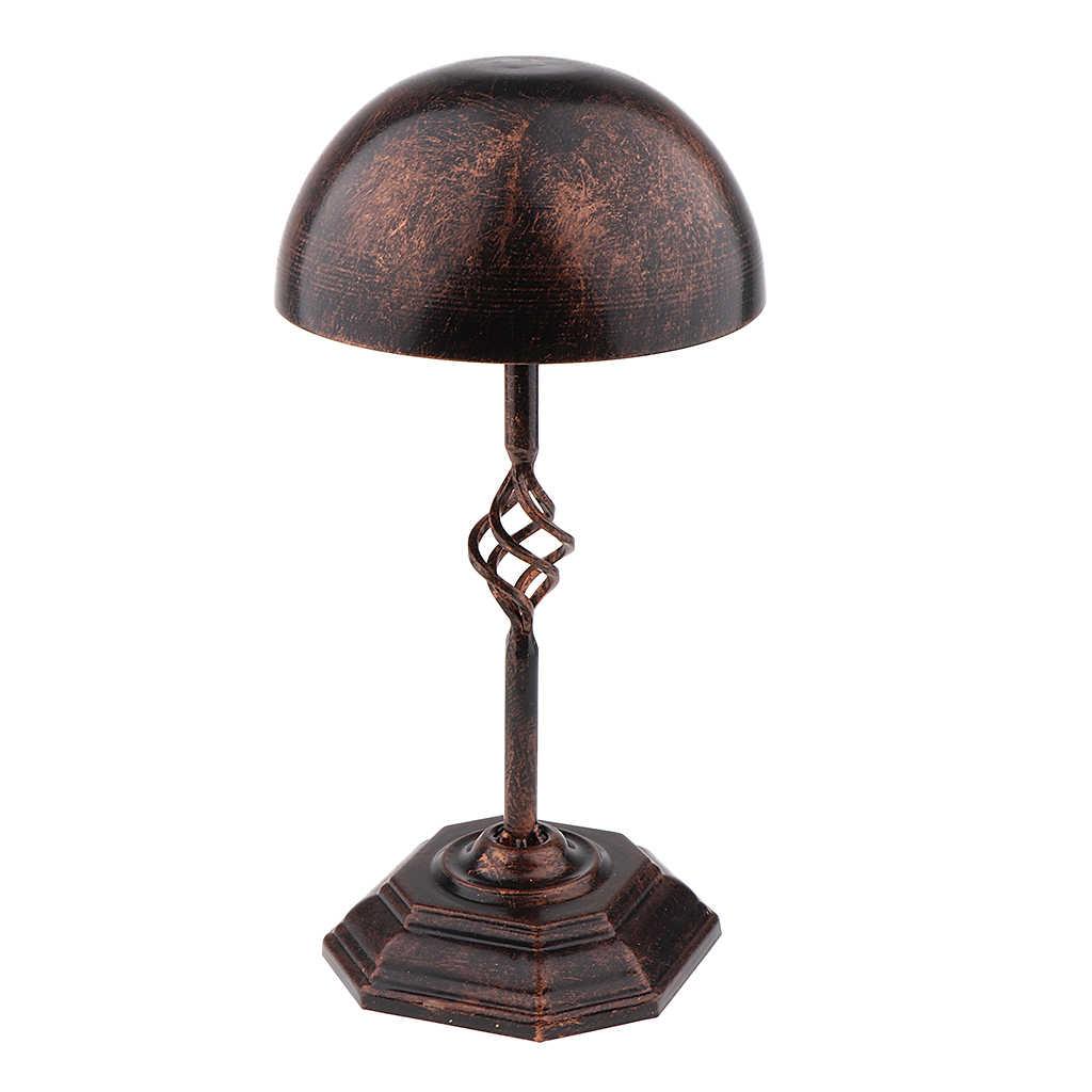 Vintage Metal wolnostojący kapelusz czapka peruka peruka kask stojak w/Octagon baza i piękne wsparcie stojak