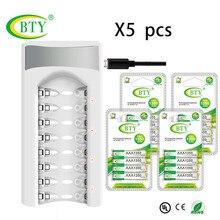 AAA зарядное устройство* 5 шт. Интеллектуальный 8 Слот для AA/AAA NiCd NiMh аккумуляторная батарея+ 80 шт. AAA батареи
