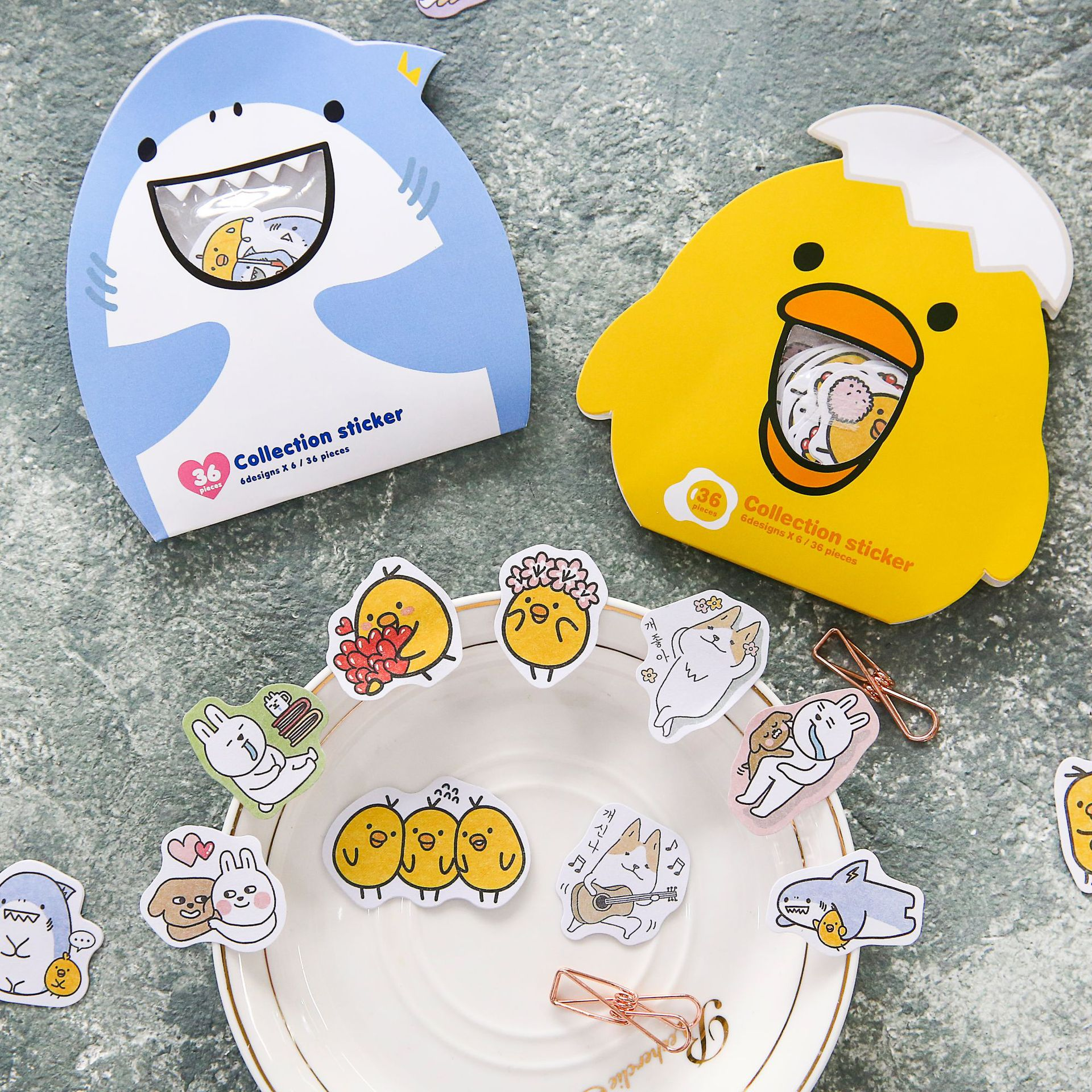 цена на Creative cartoon Kawaii Animal chicken dog Decorative PVC Stickers Scrapbooking Stick Label Diary Stationery Album Stickers